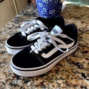 Vans Old Skool Black White Kids Shoes Youth 11 EUC